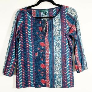 LRL Blue Red Printed Keyhole 3/4 Sleeve Cotton Top